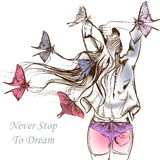 Fashion vector illustration butterflies and a long haired girl Royalty Free Stock Photography