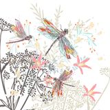 Fashion vector illustration  flowers and dragonfly Royalty Free Stock Photos