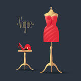 Fashion vector illustration with little red dress Royalty Free Stock Image