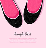 Fashion vector illustration of pink and black elegant woman shoes Stock Images