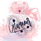 Fashion vector illustration with pink spots, dandelions and bott Stock Photography