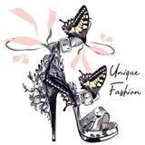 Fashion vector illustration with stylish female shoe decorated b royalty free illustration