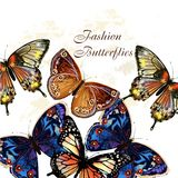 Fashion vector pattern with butterflies Royalty Free Stock Images