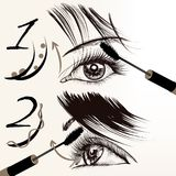 Fashion vector poster with makeup, mascara, female eyes and lash. Fashion conceptual background with female eyes and mascara Royalty Free Stock Photos