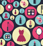 Fashion vector seamless pattern. Fashion vector seamless pattern with flat  icons for woman Stock Photography