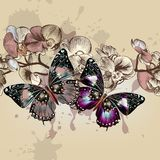 Fashion vector seamless pattren with butterflies Royalty Free Stock Photography