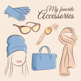 Fashion vector set. Illustration of a stylish trendy accessory with a girl. Gloves, sunglasses, wristwatch, hand bag Royalty Free Stock Photo