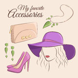 Fashion vector set. Illustration of a stylish trendy accessory with a girl. Wide-brimmed hat, clutch or purse, shoes Stock Image