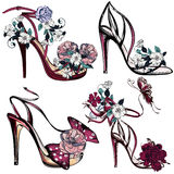 Fashion vector set with sandals and flowers for design Royalty Free Stock Images