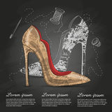 Fashion vector sketch womens shoes. Stock Photo