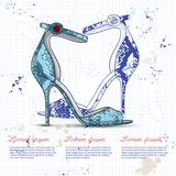 Fashion vector sketch womens shoes. vector illustration