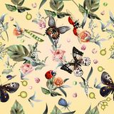 Fashion vector summer pattern with hand drawn butterflies and fl. Owers Royalty Free Stock Image