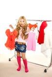 Fashion victim kid girl at backstage wardrobe Stock Photo