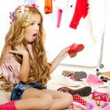 Fashion victim kid girl wardrobe messy backstage Stock Image