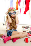 Fashion victim kid girl wardrobe messy backstage stock photography