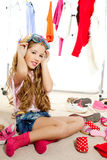 Fashion victim kid girl wardrobe messy backstage Royalty Free Stock Photo