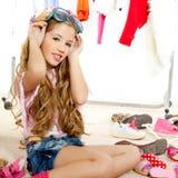 Fashion victim kid girl wardrobe messy backstage Royalty Free Stock Images