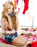 Fashion victim kid girl wardrobe messy backstage Royalty Free Stock Photo