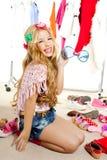 Fashion victim kid girl wardrobe messy backstage Royalty Free Stock Image