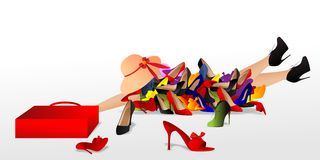 Fashion victim. Vector illustration of tired woman with his bag,behind a pile of shoes Royalty Free Stock Photo
