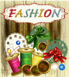 Fashion vintage background with thread, bows Stock Photos