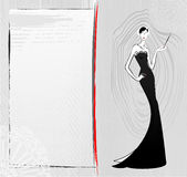 Fashion vintage girl in black dress sketch card Royalty Free Stock Image