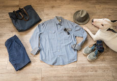 Fashion vintage male outfit, cloth and accessories and bullterri Stock Photos
