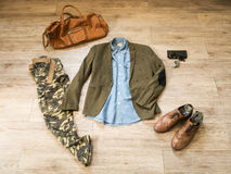 Fashion vintage male outfit, cloth and accessories Royalty Free Stock Photos