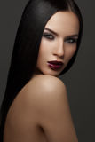 Fashion vogue portrait of a beautiful woman with beauty face Royalty Free Stock Photography