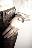 Fashion watch photo. Partial photo of the modern woman wearing  fashion watches Royalty Free Stock Photography