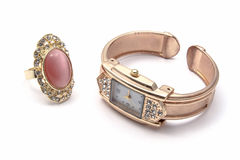 Fashion Watch and Ring royalty free stock photo