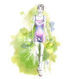 Fashion watercolor illustration with gorgeous girl Stock Image