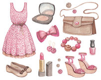 Fashion watercolor illustrations Royalty Free Stock Photo