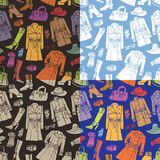 Fashion wear seamless pattern set.Autumn woman Stock Image