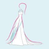 Fashion wedding dress. Vector illustration Royalty Free Stock Photos
