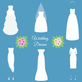 Fashion wedding dresses models. Vector illustration, icons set Stock Image