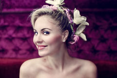 Fashion wedding hairstyle. Beautiful girl with a wedding hairdo Royalty Free Stock Photos