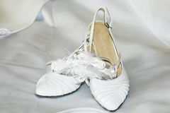 Fashion wedding shoes for the bride. Over background Stock Photography