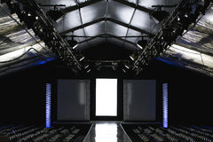 Fashion Week Empty Runway. Empty fashion week runway prepared with modern technology and digital effects ready for a designer catwalk Royalty Free Stock Images