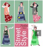 Fashion week. Street style. Poster with five abstract fashion models, stylized image of keyhole and text. Fashion week. Street style. Poster with five abstract royalty free illustration