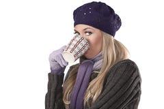 Fashion winter girl in purple wool Stock Photos
