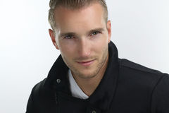 Fashion winter - handsome blond guy Royalty Free Stock Images