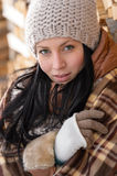 Fashion winter woman cover in blanket countryside Royalty Free Stock Photo
