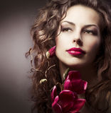 Fashion Woman. With Magnolia Spring Flowers Stock Photography