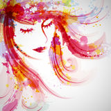 Fashion Woman. Illustration of a Fashion Woman face silhouette on an abstract colorful background Stock Photography
