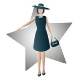 Fashion woman. Color illustration of an elegant woman with a star in the background Royalty Free Stock Images