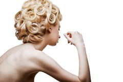 Fashion woman with abstract hair style isolated Stock Images