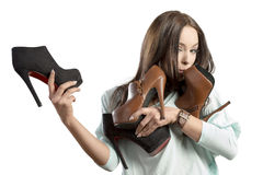 Fashion woman adoring her shoes Stock Image