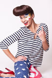 Fashion woman in american flag pants Stock Images
