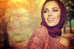 Fashion woman in autumn color Stock Image